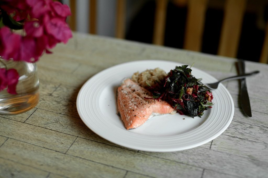 salmon brown rice beetroot gluten dairy free